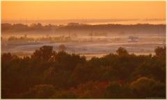Закат туман. Панорама высокого разрешения