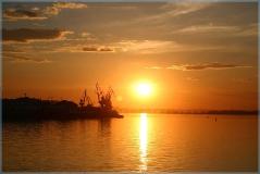 Фотографии закатов. Уснувший порт. Стрелка Нижний Новгород