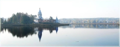 Озеро. Церковь. Панорамные фотографии высокого разрешения. Фотопанорамы