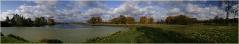 Осенний пейзаж. Озеро. Облака. Панорамные фотографии высокого разрешения. Фотопанорамы