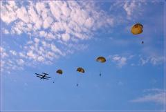 Парашютисты в небе. прыжки с парашютом. Фото