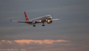 Самолет Ту-204 заходит на посадку. Фото