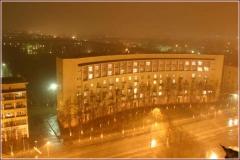 Архитектура Нижнего Новгорода. Радиусный дом. Ночное фото