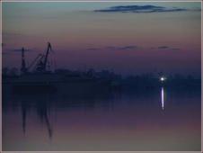 Ночной порт. Портовые краны. Нижний Новгород. Волга