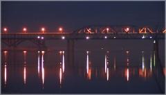 Фотография Борского моста через Волгу. Ночной пейзаж