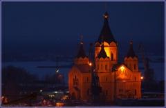 Собор Александра Невского в Нижнем Новгороде. Ночное фото