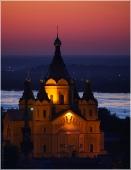 Собор Александра Невского. Красивое вечернее фото. Фото Нижнего Новгорода