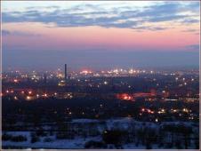 Ночной Нижний Новгород. Вид на заречную часть из парка Швейцария