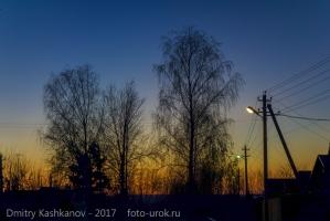Закат и фонари. Красивые фото деревни