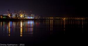 Ночная панорама слияния Оки и Волги. Нижний Новгород