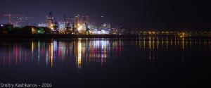 Ночная Стрелка и Борский мост. Нижний Новгород