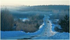 Зимняя дорога. Фото высокого разрешения. Зимнее утро. Иней на ветках