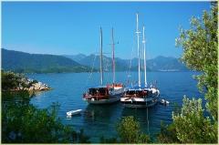 Морские пейзажи. Фотография яхт на рейде. Утро. Мармарис. Турция