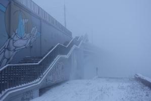 Вход на Канавинский мост с Нижне-Волжской набережной. Густой туман