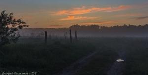 Вечернее фото с туманом и закатом