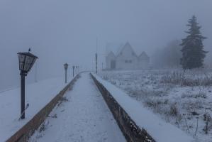 Нижне-Волжская набережная в густом тумане