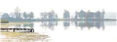 Утренние пейзажи. Панорама с туманом и озером