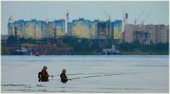 Утро на реке. Туман над водой. Река Волга. Утренний пейзаж