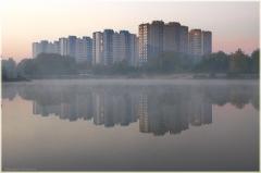Просто утро. Водный мир. Микрорайон Нижнего Новгорода. Утро в городе. Утренний пейзаж