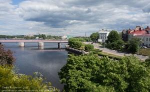 Вид на Крепостной мост и Наб. 30-го Гвардейского корпуса с острова Выборгского замка