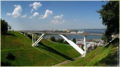 Пешеходный мост. Собор Александра Невского. Достопримечательности Нижнего Новгорода