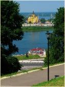 Собор Александра Невского. Вид через Оку. Достопримечательности Нижнего Новгорода