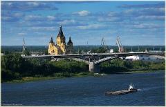 Фото Нижнего Новгорода. Мост через Оку. Собор Александра Невского