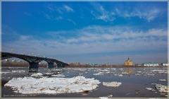 Канавинский мост, Собор Александра Невского, Ледоход. Фото Нижнего Новгорода