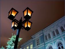 Теплая ночь. Фонари на Большой Покровке. Достопримечательности Нижнего Новгорода. Фото