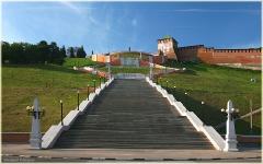 Ступени Чкаловской лестницы. Нижегородский кремль. Фото Нижнего Новгорода. Городской пейзаж