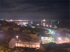 Ночной Нижний Новгород. Вид на Стрелку. Достопримечательности Нижнего Новгорода. Фото
