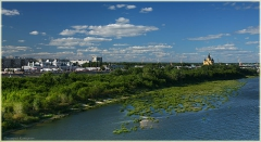 Собор Александра Невского и Нижегородская ярмарка. Река Ока. Фото Нижнего Новгорода