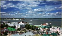 Панорама. Вид на Стрелку, Собор Александра Невского, мост через Волгу. Фото Нижнего Новгорода