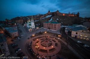 Нижний Новгород. Площадь народного единства и Кремль. Вечернее фото