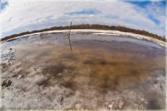 Весенний пейзаж. Разлив на реке. Фото объективом Зенитар М2,8/16. фишай