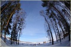 Зимний пейзаж. Снег. Деревья. Искажения. Фотографии FishEye