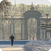 фотографии автозаводского парка Нижнего Новгорода. Ранняя весна, утро