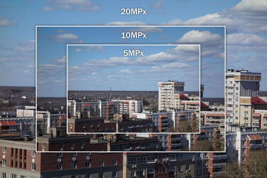 сравнение размеров фотографий, снятых в разном разрешении