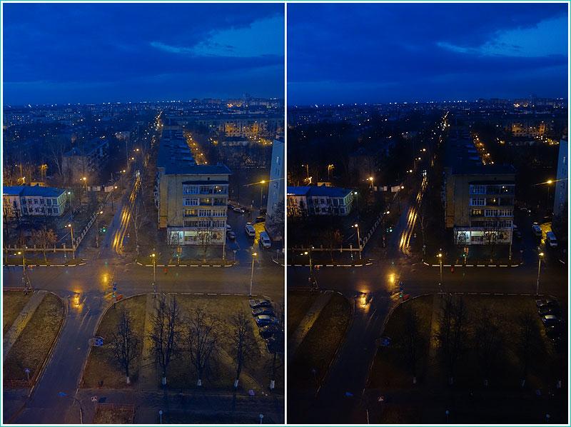 сравнение вечерних фотографий, снятых в режиме HDR и без него
