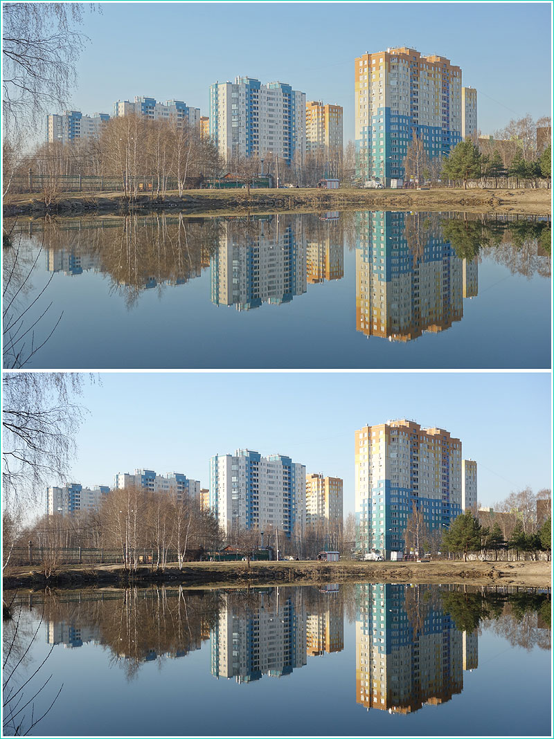 сравнение утренних фотографий, снятых в режиме HDR и без него