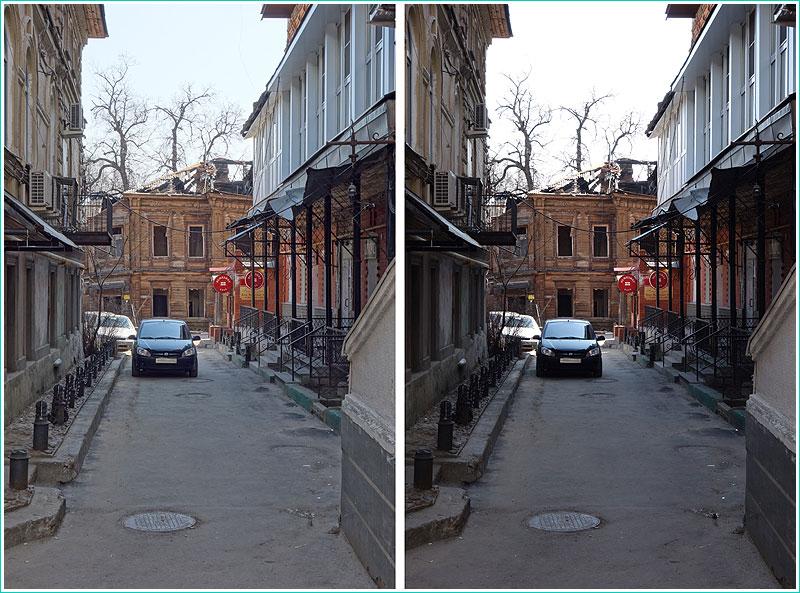 сравнение архитектурных фотографий, снятых в режиме HDR и без него