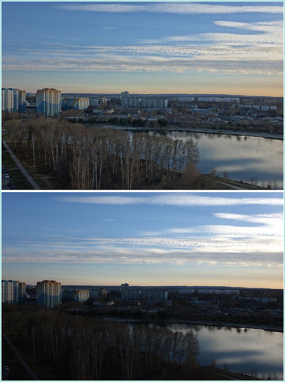 сравнение фотографий, снятых против солнца в режиме HDR и без него